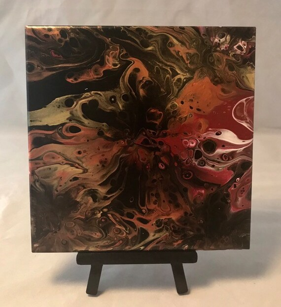 Abstract Red Black Gold Handmade Ceramic Tile Coaster Trivet Painted Artisan Made
