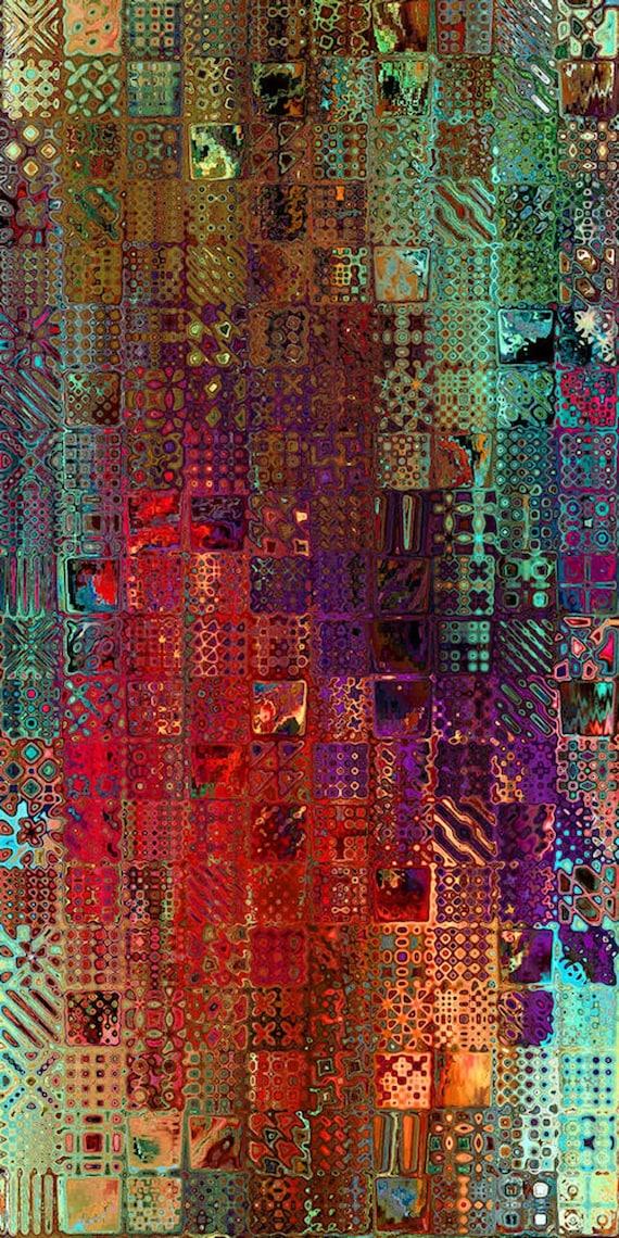 Velvet Upholstery Fabric Hand Created Patchwork Colorway Fiber Art Modern Fabric