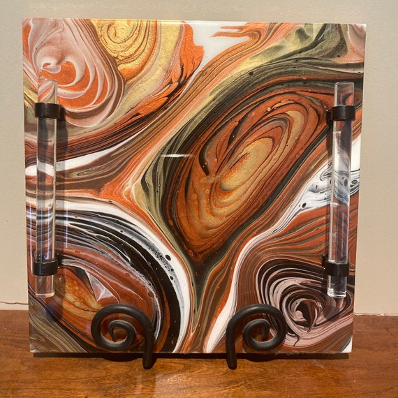 Charcuterie Ceramic Handcrafted Resin Rich Paints Metallic Gold Copper Brown Platter Centerpiece Food Safe Gift