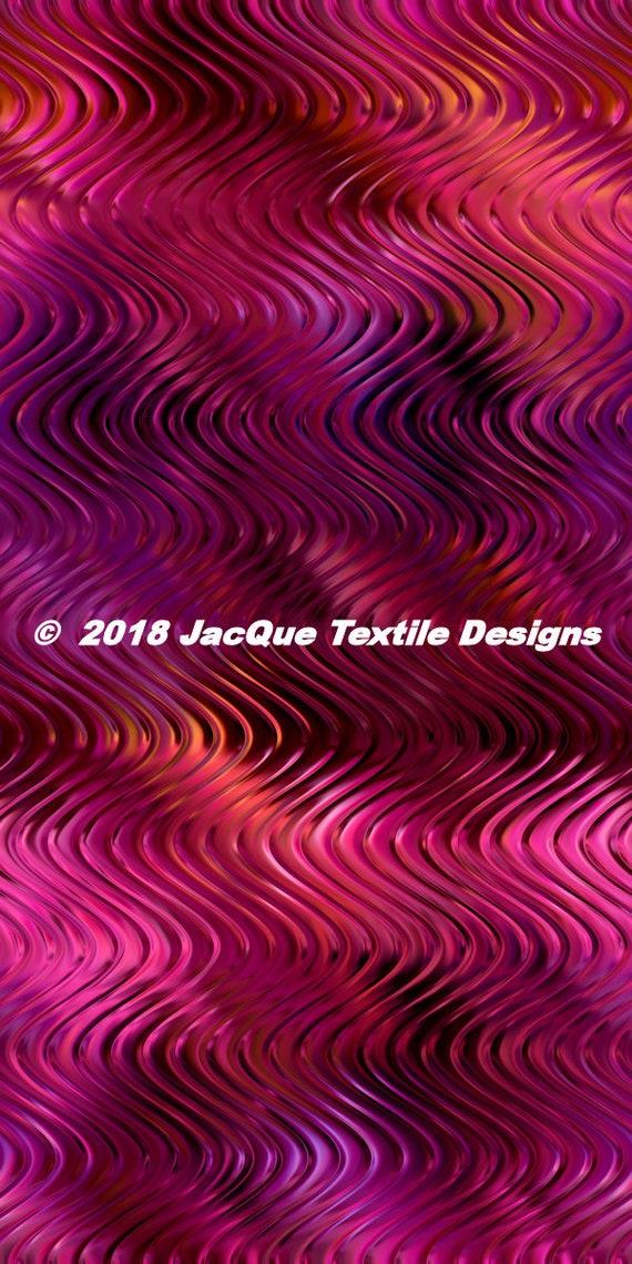 Handmade Textile Purple Pink Waves Vibrant Artisan Satin Fabric By The Yard Fiber Art