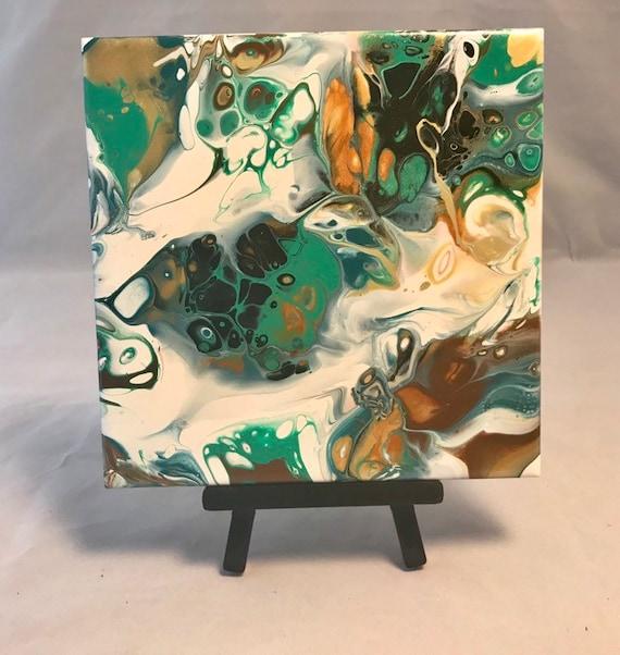 Gold Green Abstract Handmade Ceramic Tile Coaster Trivet Painted Artisan Made