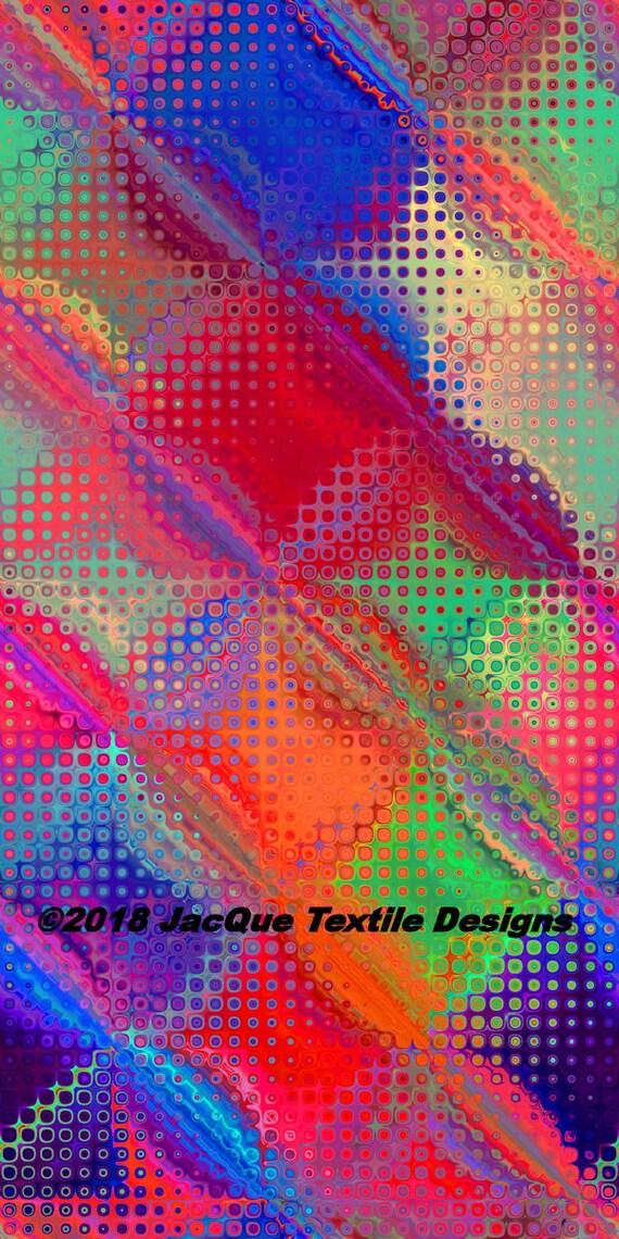 Bright Bold Colors Artist Handmade Threads Crepe De Chine Caftan Fabric Apparel Sheer Home Decor