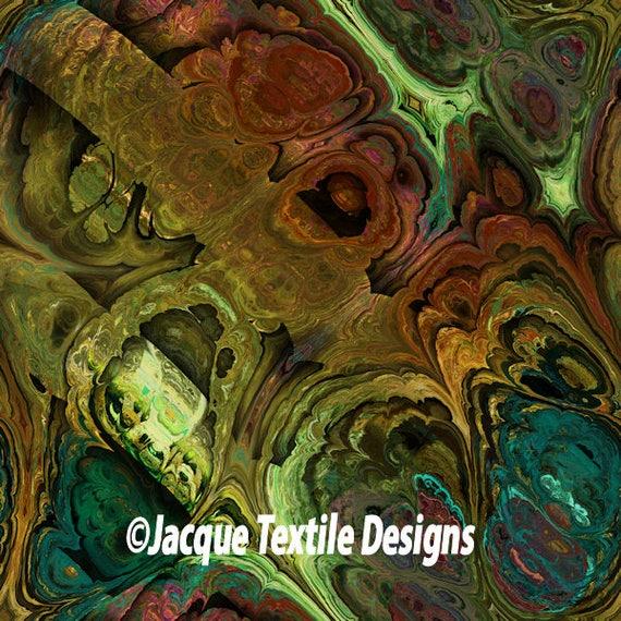 Handmade Teal Green Blue Brown Marble Velvet Upholstery Fabric Shimmer Fiber Art Fabric