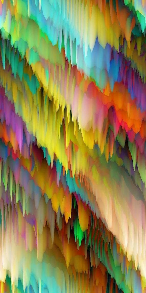Rainbow Icicles Artisan Made Sateen Cotton Textile Fabric Home Decor Drapery Pillows