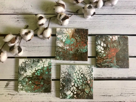 Hand Painted  Colorful Art Gold Sea Foam Ceramic Tile Coaster Set of 4 Painted Artisan Made Gift Idea Home Decoration