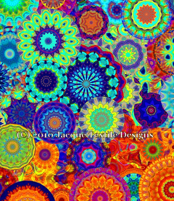 Bright Flower Kaleidoscope Artisan Made Kona Cotton Quilting Textile Art Fabric Panel