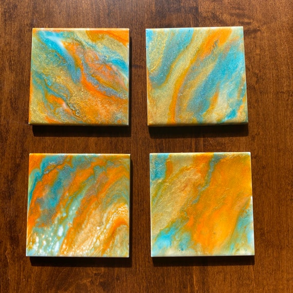 4.25 inch Pearlized Turquoise Orange Gold Handmade Ceramic Tile Coaster Set of 4 Painted Artisan Made Gift Idea