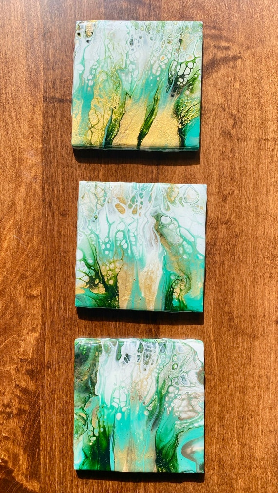 Coaster Set of 3 Green Gold Tile Ceramic Trivet Hand Painted Artisan Made Gift Idea Home Decoration