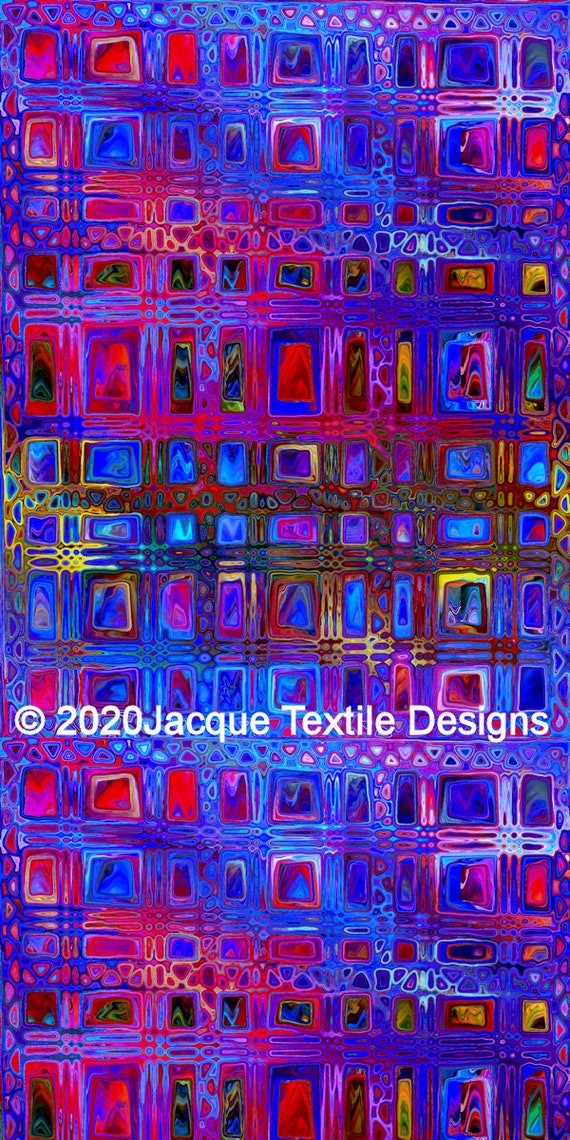 Fashion Artisan Made Satin Blue Pink Textile Fabric By The Yard Fiber Art Marble Fabric