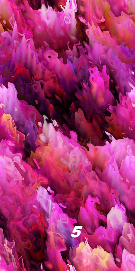 Pink Fushia Waves Abstract Artist Hand Created Artisan Crepe de Chine Fabric Fiber Art Apparel Sheer Home Decor