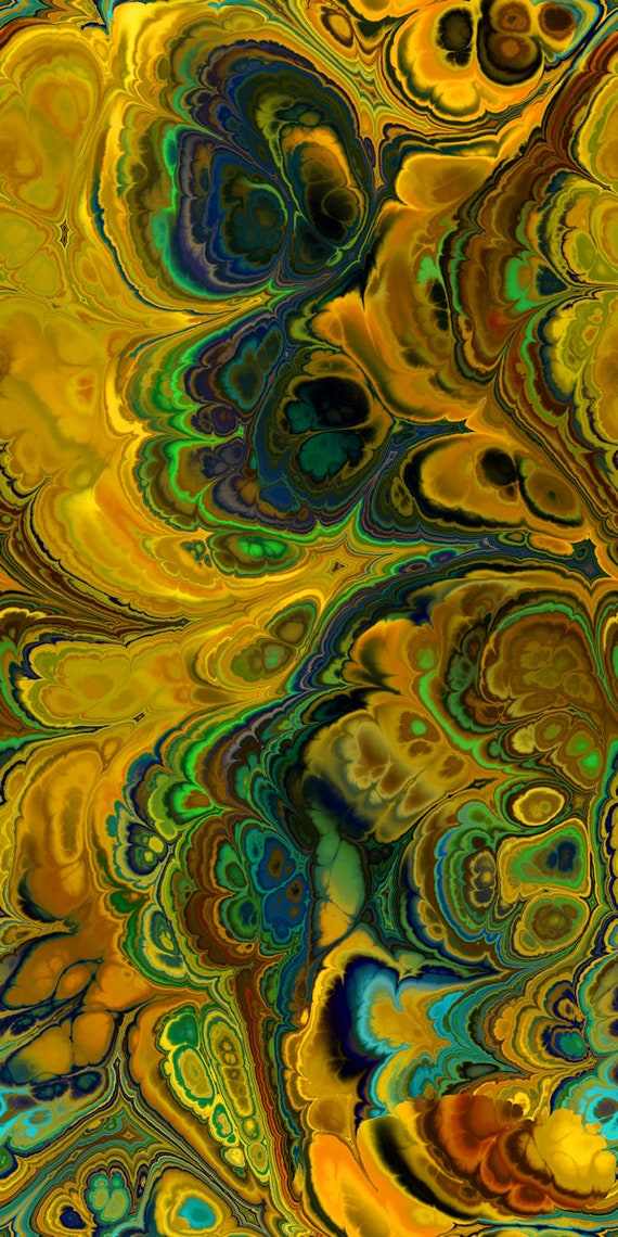 Golden Green Abstract Textile Designer Artist Created Canvas By the Yard Fabric Living Decor