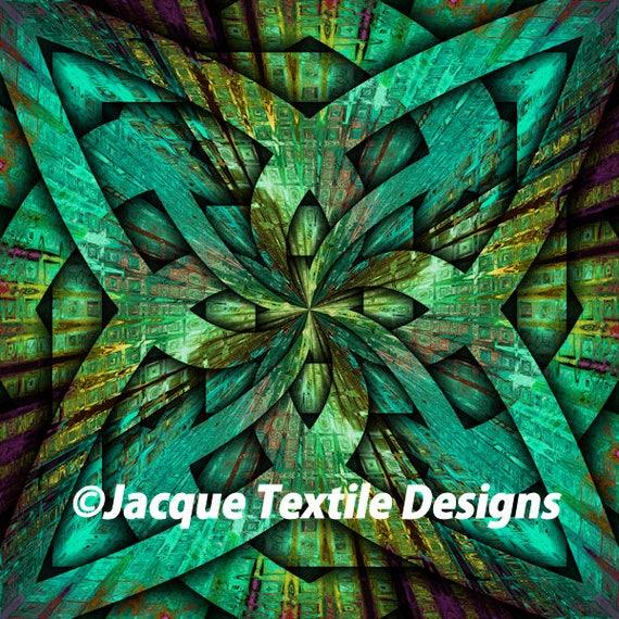UNIQUE Handmade Teal Green Blue Celtic Velvet Upholstery Fabric Shimmer Fiber Art Fabric