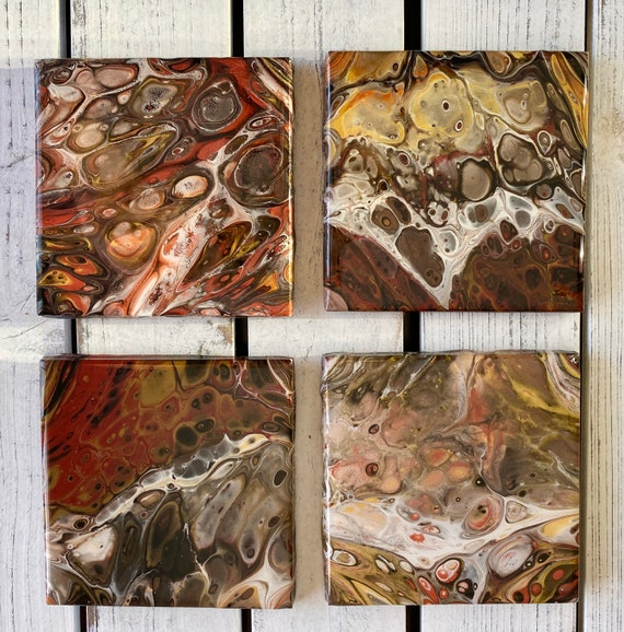 4.25 inch One of a Kind Handmade Ceramic Tile Coaster Set of 4 Painted Copper Gold Artisan Made Gift Idea