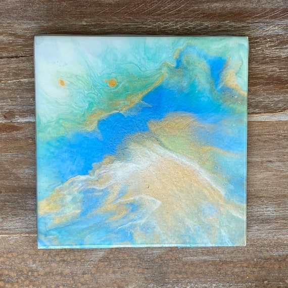 Trivet Handmade Resin Epoxy Blue Beach Watercolors Ceramic Tile Coaster Artisan Made Gift Home Decoration