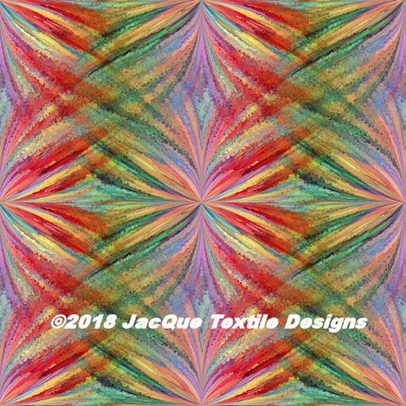 Colorful Fashion Textile Artist Hand Created Jersey Spandex Knit Fabric