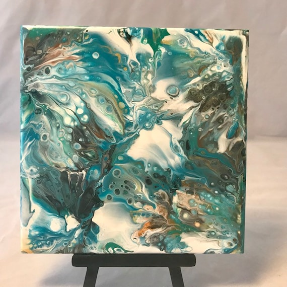 Painting One of a Kind Blue Green Brown Cream Handmade Ceramic Tile Coaster Trivet Painted Artisan Made