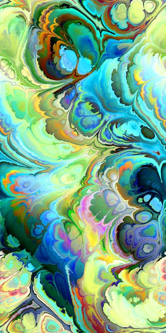 Teal Blue Marbles One of a Kind Handmade Velvet Upholstery Fabric Fiber Art