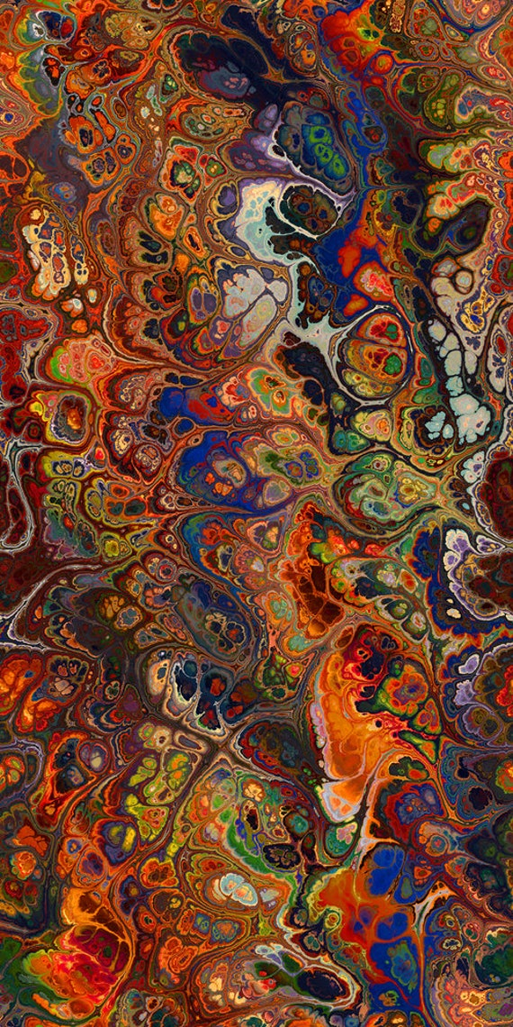 Artist Made Cotton Quilting Fabric Panel Abstract Marble Swirls of Color Jewel Tones Fiber Art