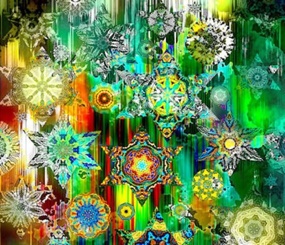 Quilting Artist Fabric Galaxy Star Green Kaleidoscope Fiber Art Decor