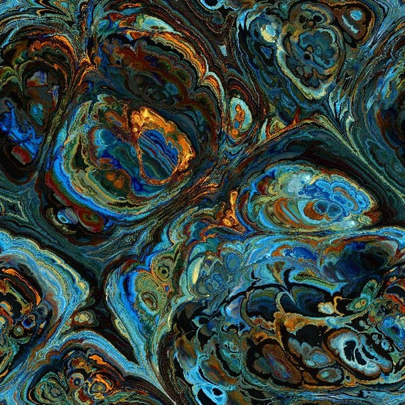 Artisan Blue Marble Agate Made Kona Cotton Quilting Textile Art Fabric Panel Fiber Art