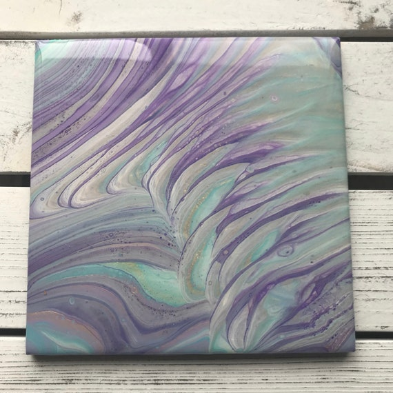Handmade 6 inch Trivet Purple Waves Resin Epoxy Ceramic Tile Coaster Artisan Made Gift Home Decoration