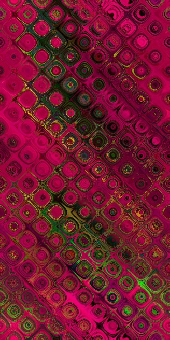 Fushia Pink Circles UNIQUE Handmade Green Jade Velvet Upholstery Fabric Shimmer Fiber Art Fabric
