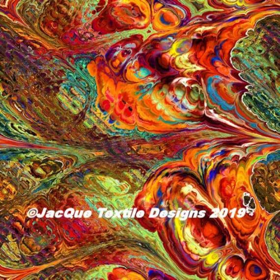 Textile Artist Made Satin Fabricl Southwstern Fiber Art