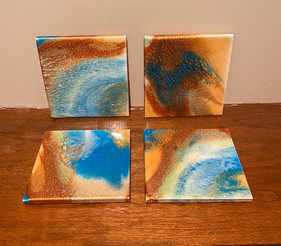 Coaster Set of 4 Gold Copper Turquoise Handmade Ceramic Tile Painted Artisan Made Gift Idea
