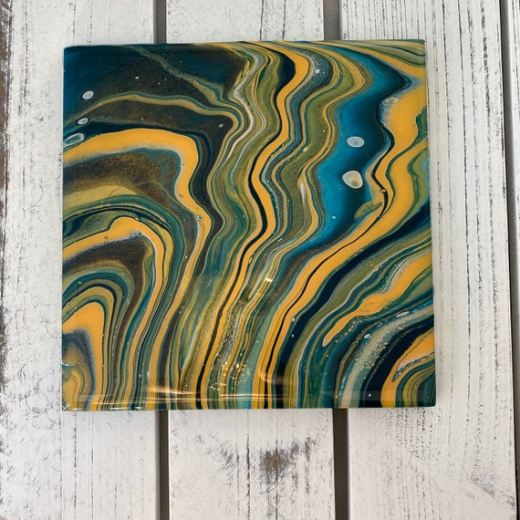 6 inch Trivet Handmade Resin Epoxy Metallic Aqua Gold Ceramic Tile Coaster Artisan Made Gift Home Decoration