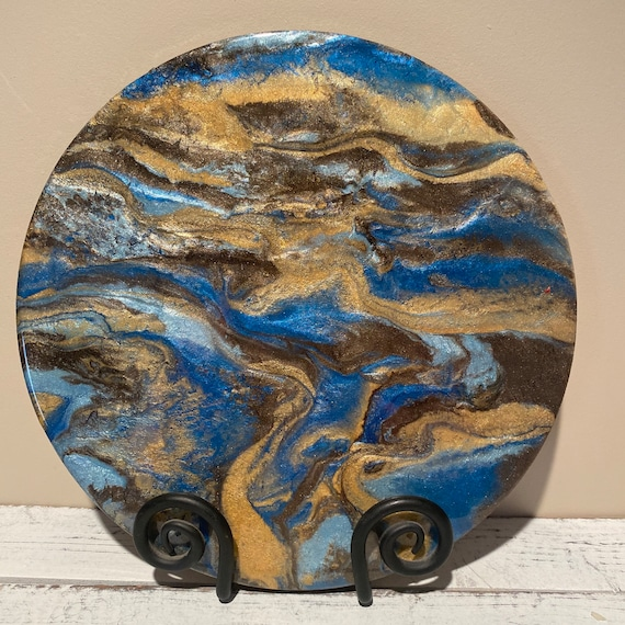 Handmade Painted Wooden Circle 12 inches Centerpiece Resin Abstract Art Brown Gold UNIQUE Artisan Christmas Gift
