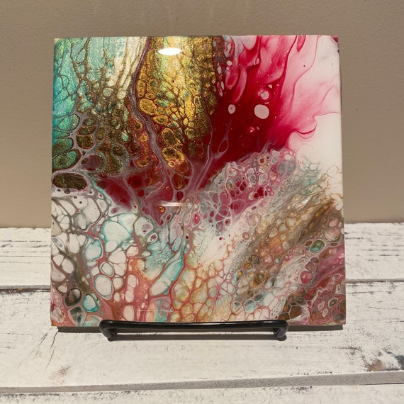 6 Inch Trivet Galaxy Of Colorful Explosion Handmade Ceramic Tile Coaster Painted Artisan Made