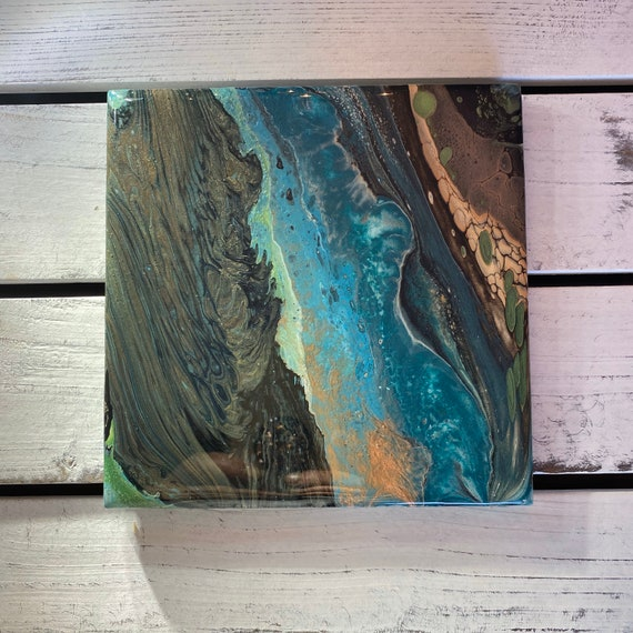 6 Inch Trivet Galaxy Blue Green Black Handmade Ceramic Tile Coaster Painted Artisan Made