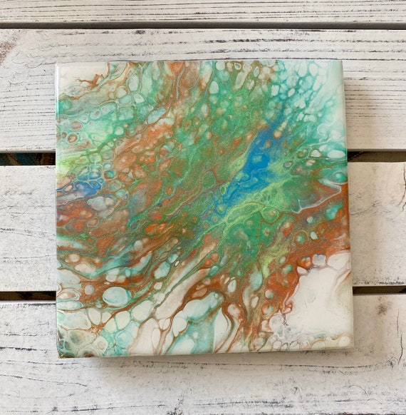 6 Inch Tile Trivet Coaster Galaxy Of Colors Metallic Paint Supernova Handmade Ceramic Painted Artisan Made