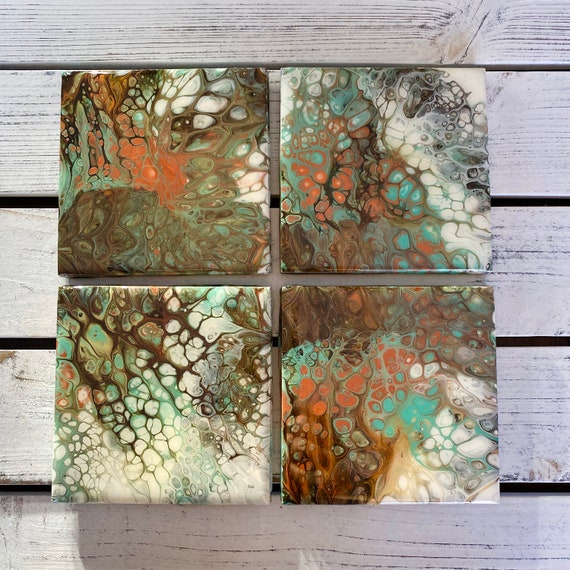 Seaform Green 4.25 inch One of a Kind Handmade Ceramic Tile Coaster Set of 4 Painted Copper Gold Artisan Made Gift Idea