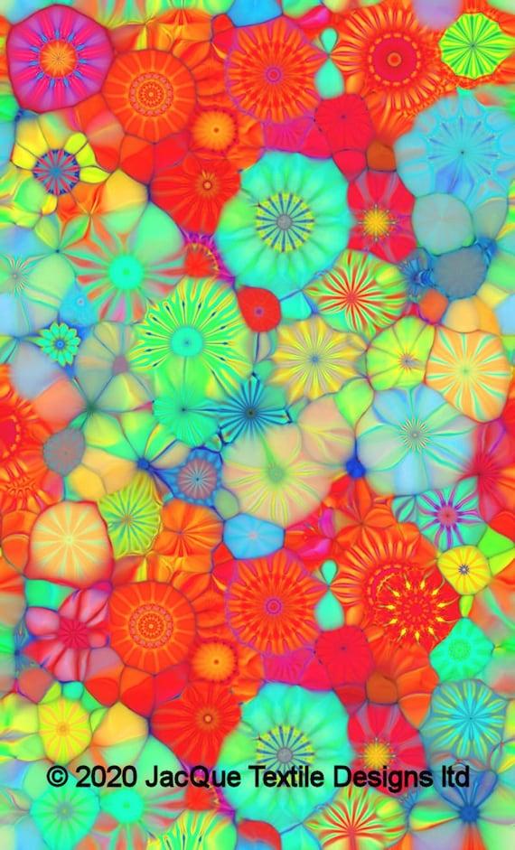 Satin Kaleidoscope Abstract Summer Flowers Fabric Artisan Created 3D By The Yard Fiber Art
