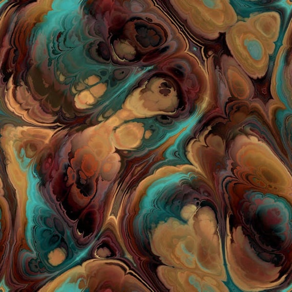 Satin Brown Turquoise Artist Created Gorgeous Silky Fabric Fiber Art Rich Unique Marble