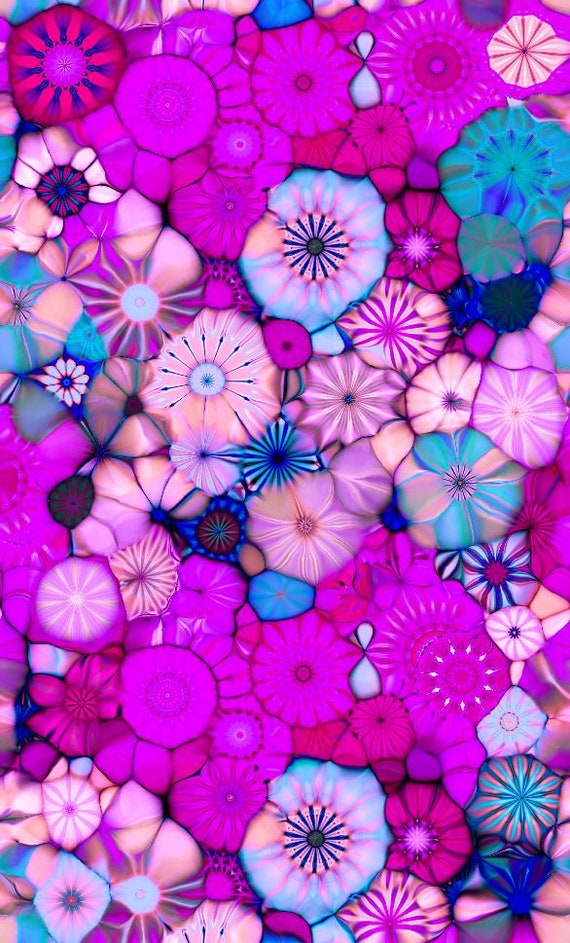 Designer Knit Fabric Artist Pink Fushia Kaleidoscope Jersey Lycra Spandex