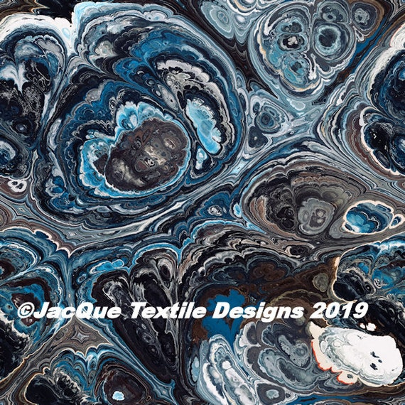 Blue Grey Marble Textile Artist Made Gorgeous Cotton Canvas Upholstery Fabric  Home Decor Unique