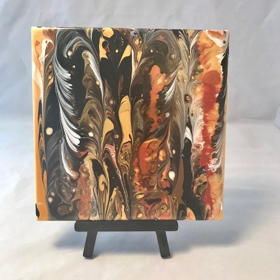 Gold Copper Black White Yellow Abstract Painting One of a Kind Handmade Ceramic Tile Coaster Trivet Painted Artisan Made