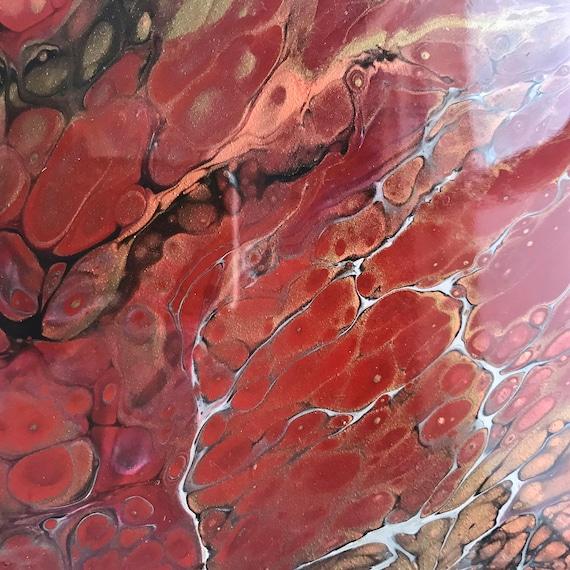 Art 6 inch Trivet Red Thunderstorm Resin Handmade Abstract Tile Coaster Painted Artisan Made