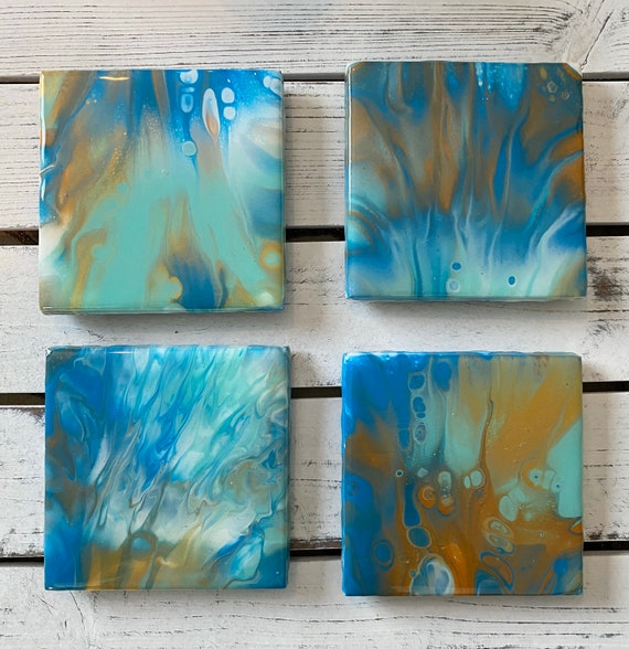 4.25 inch Coaster Set of 4 Blue Green Ocean Handmade Ceramic Tile Painted Copper Gold Artisan Made Gift Idea