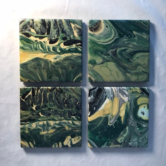 One of a Kind Handmade Ceramic Tile Coaster Set of 4 Painted Green Gold Black Artisan Made Gift Idea