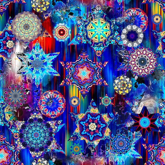 Textile Artist Made Decor Kona Cotton Fabric Quilting Kaleidoscope Blue Sky Stars