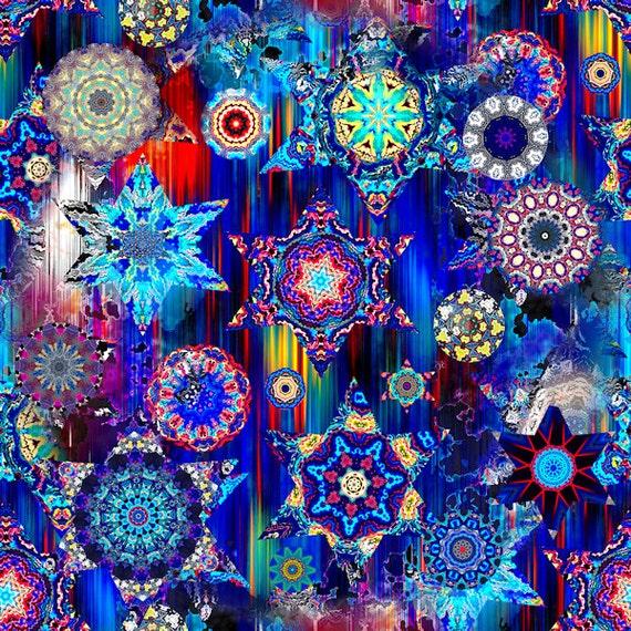 Textile Artist Made Decor Cotton Fabric Quilting Kaleidoscope Blue Sky Stars