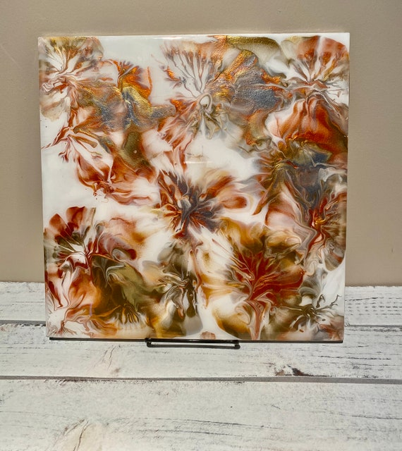 Handmade Painted Plate Platter Centerpiece Resin Silver Copper Gold White 12 Inch Square GIFT