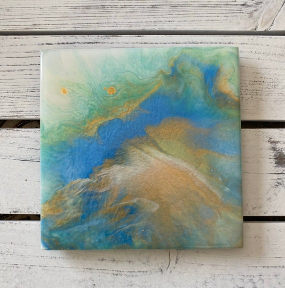 Trivet Coaster Gold Tropical Blue Resin Handmade Ceramic Tile Coaster Painted Artisan Made