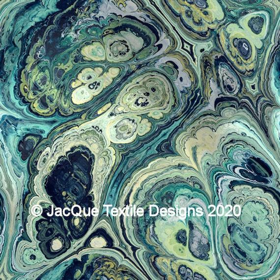 Blue Marble Green Abstract Handmade Art Velvet Upholstery Fabric Fiber Art Fabric