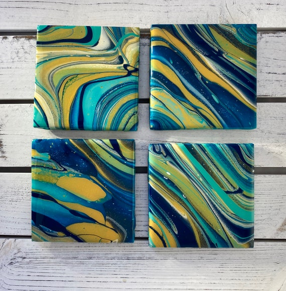 4.25 inch Blue Gold Handmade Ceramic Tile Coaster Set of 4 Painted Copper Gold Artisan Made Gift Idea