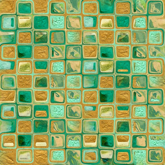 Textile Artist Tile Blue Green Golden Made Lycra  Knit Fabric By The Yard Athletic Apparel Swimwear Swim Suit