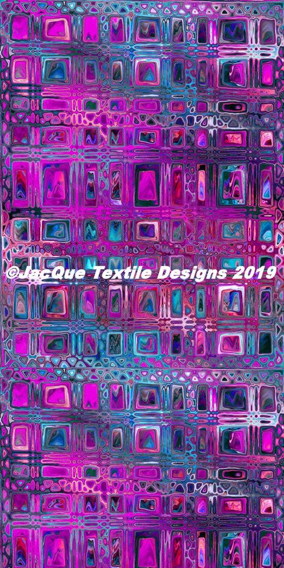Fashion Artisan Made Satin PurpleTextile Fabric By The Yard Fiber Art Marble Fabric